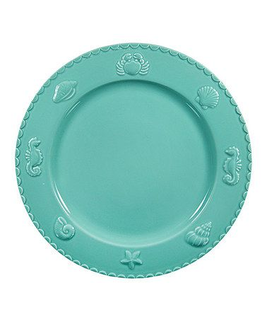 Aqua Sanibel Dinner Plate Coastal Kitchen Beach House Home Decor Chic