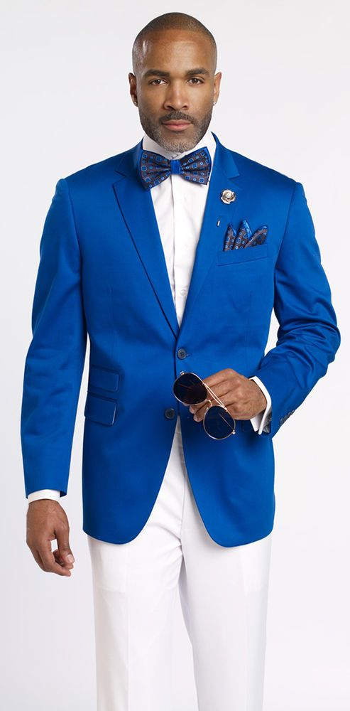 Designer Royal Blue 2 Button Mens Blazer Lightweight Suit Jacket J22 EJ  Samuel