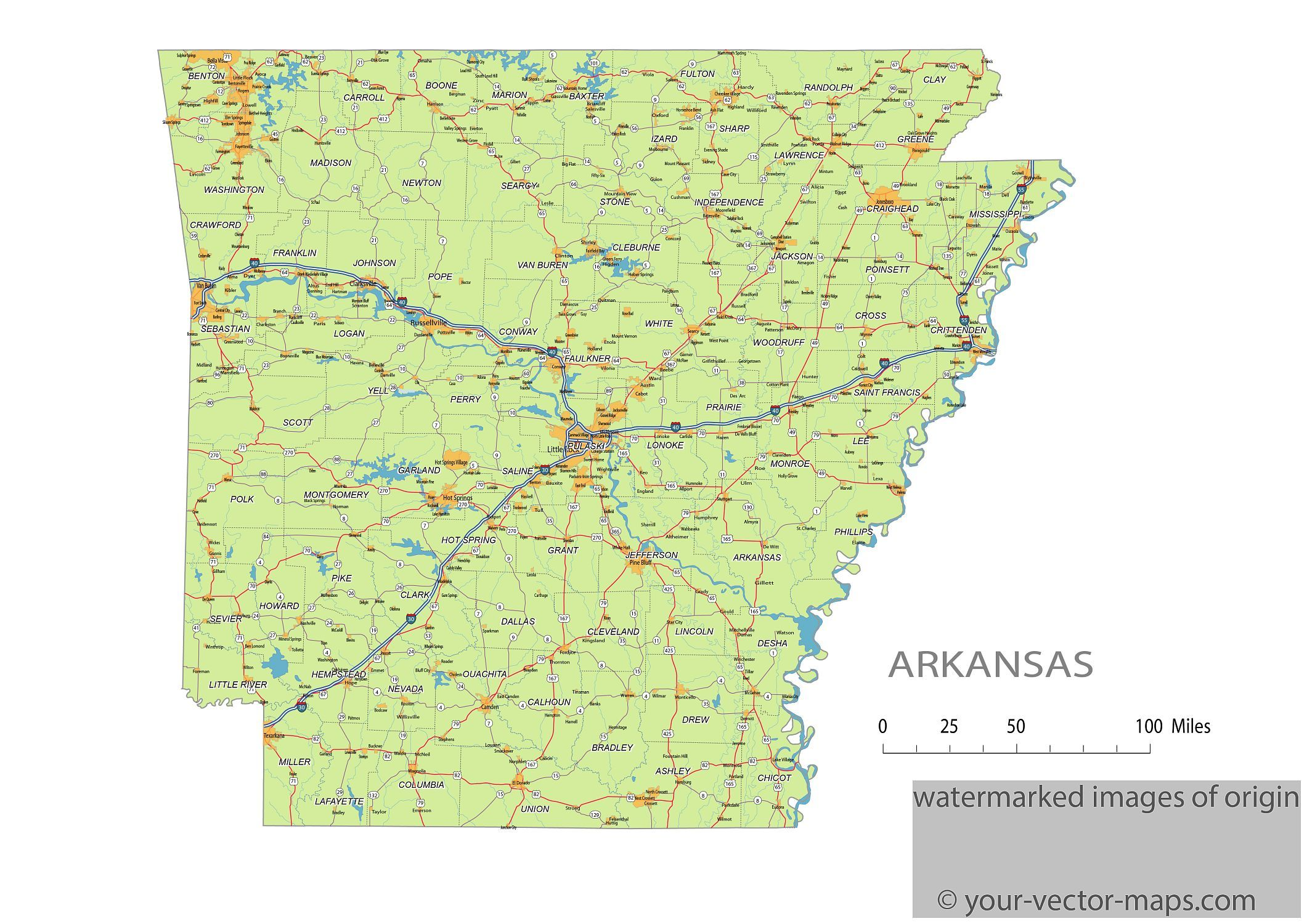 Akansas state route network. Arkansas highways map. Cities of ...