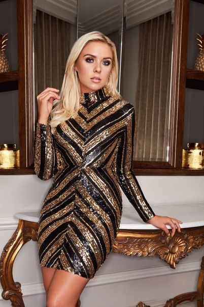 e05ce56869bc Gabby's Black and Gold Sequin Long Sleeve Mini Dress | dresses ...