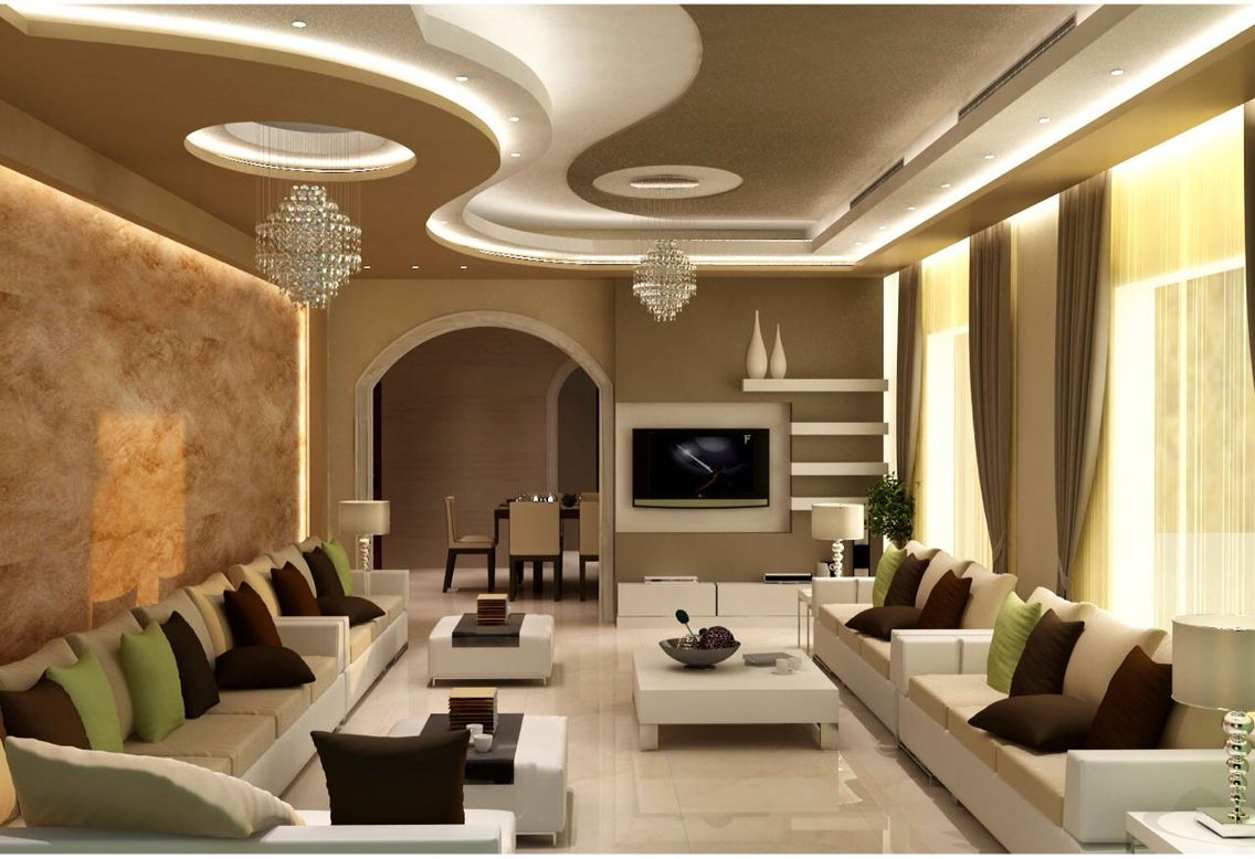 Gypsum ceiling design with cornice and concealed lights strip