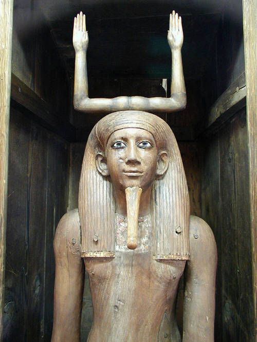 "A wooden ""Ka"" statue of Hor-Awibra, the third Pharaoh of the 13th Dynasty._cairo_museum."