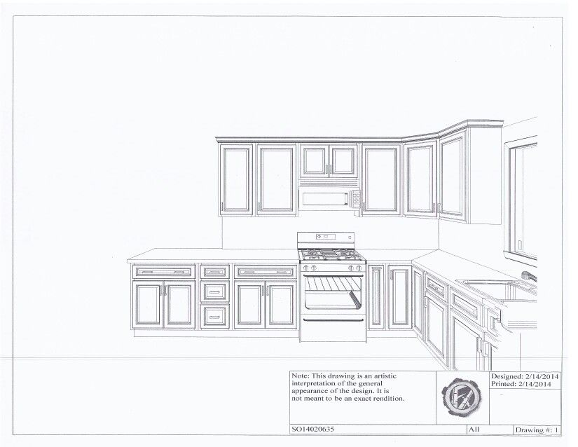 Simple Kitchen Elevation drawing cabinet plans. kitchen design sketch easy drawing rataki