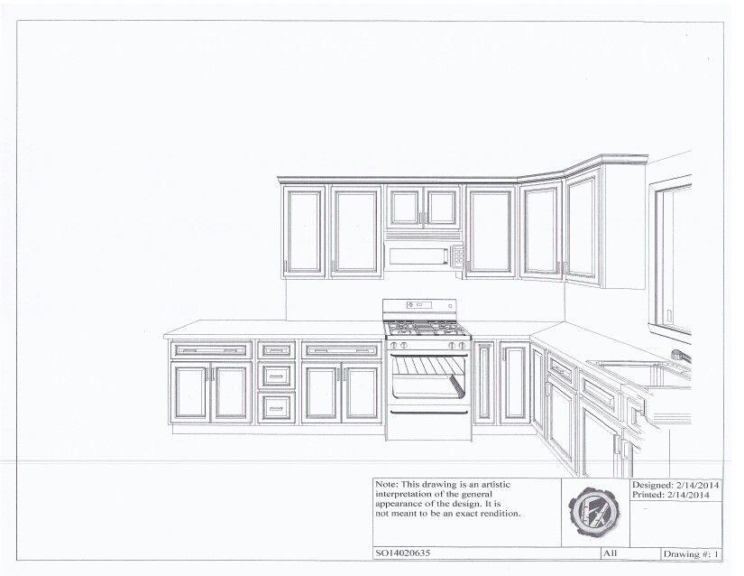 Kitchen Island Elevation kitchen elevation - cabinet plans - l shaped kitchen with island
