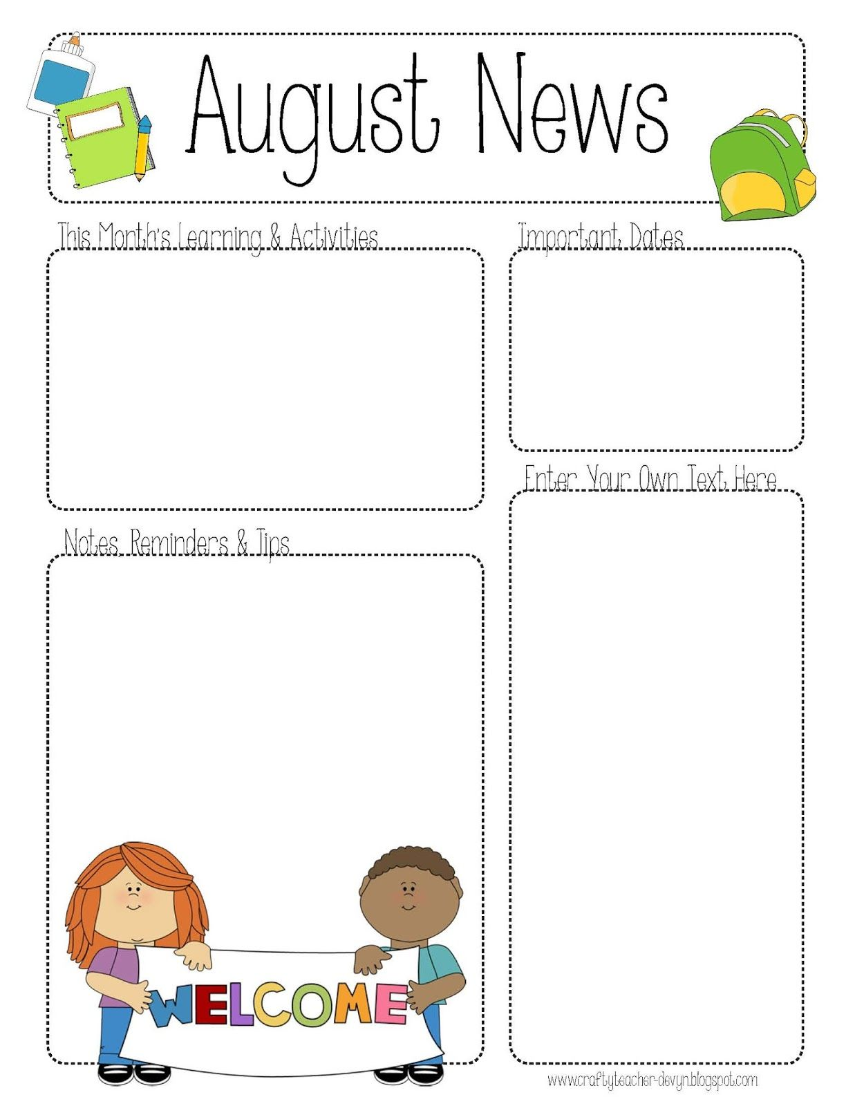 August Printable Newsletter For All Grades