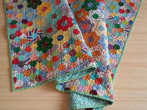Rainbow baby quilt Patchwork hexagon baby quilt Quilted ...