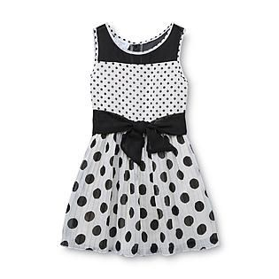 Piper Baby- -Toddler Girl's Pleated Chiffon Dress - Polka Dots
