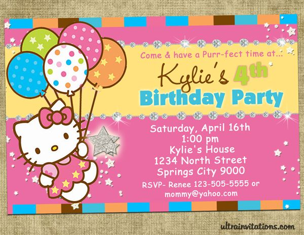 Cool FREE Printable Hello Kitty Invitation Templates Theme FREE - Free hello kitty birthday invitation templates