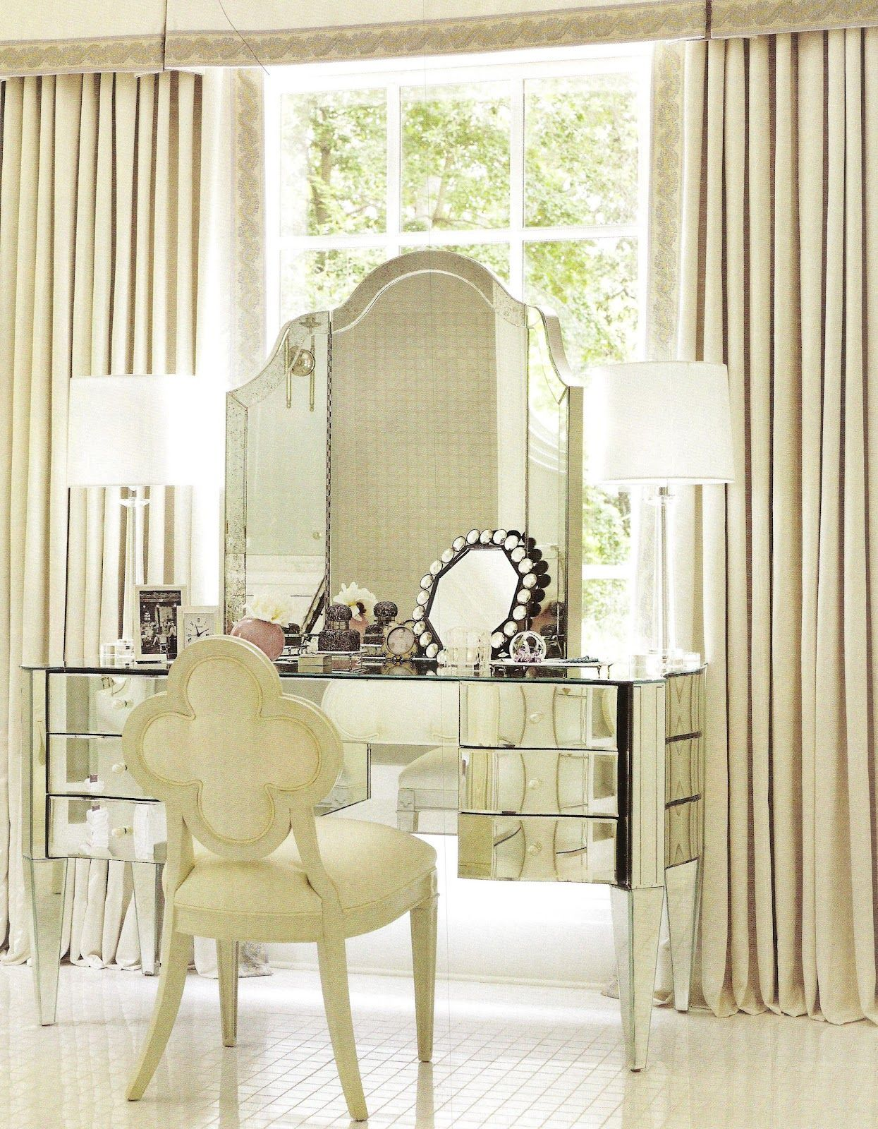 In The Home Of Suzanne Kasler. The Dressing Table In The Master Bath Is By  Nancy Corzine, As Is The Mirror; The Chair Is A Suzanne Kasler Design For  Hickory ...