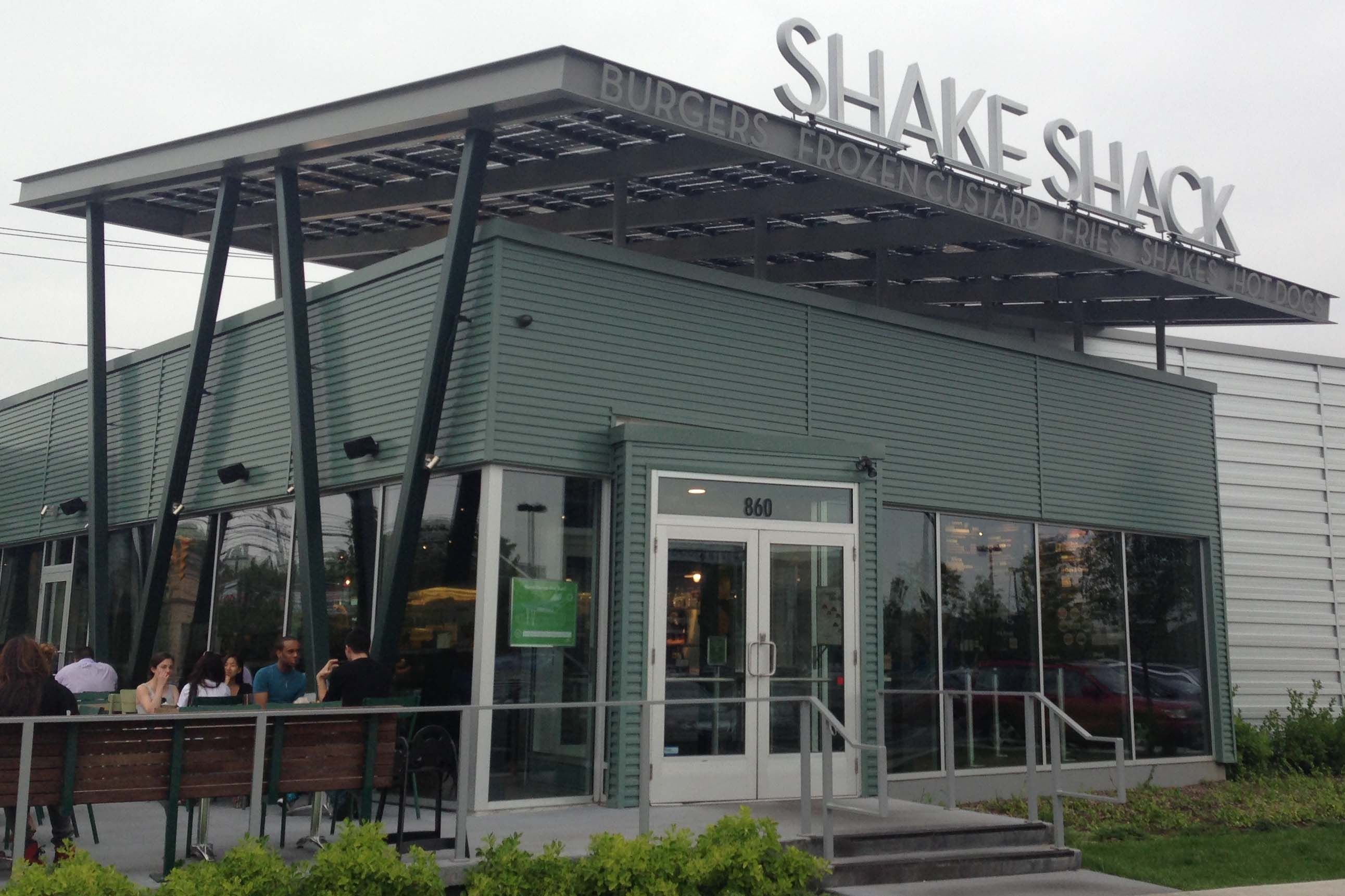 Lsx solar canopy covering that shades the shake shack