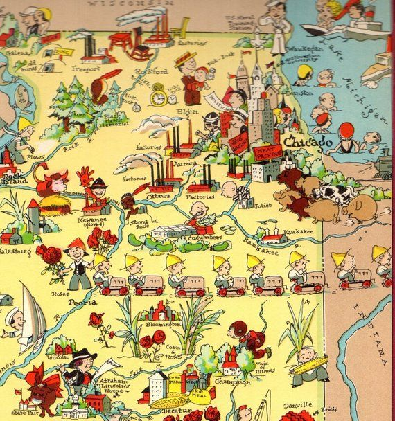 1930's Vintage Illinois Picture Map State Cartoon Map Print ... on illinois map fun, illinois rt 66 map, illinois map 3d, illinois map western, illinois map book, illinois map outline, illinois map logo, illinois postcard, illinois map funny, illinois usa, illinois map crime, illinois map coloring page, illinois map joke, illinois map drawing, illinois on america, illinois black and white clip art, illinois map black, illinois map vintage, midwest cartoon, illinois map painting,