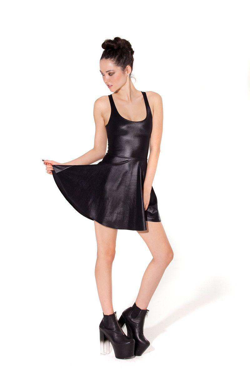 Wet Look Reversible Skater Dress Black Milk And Black