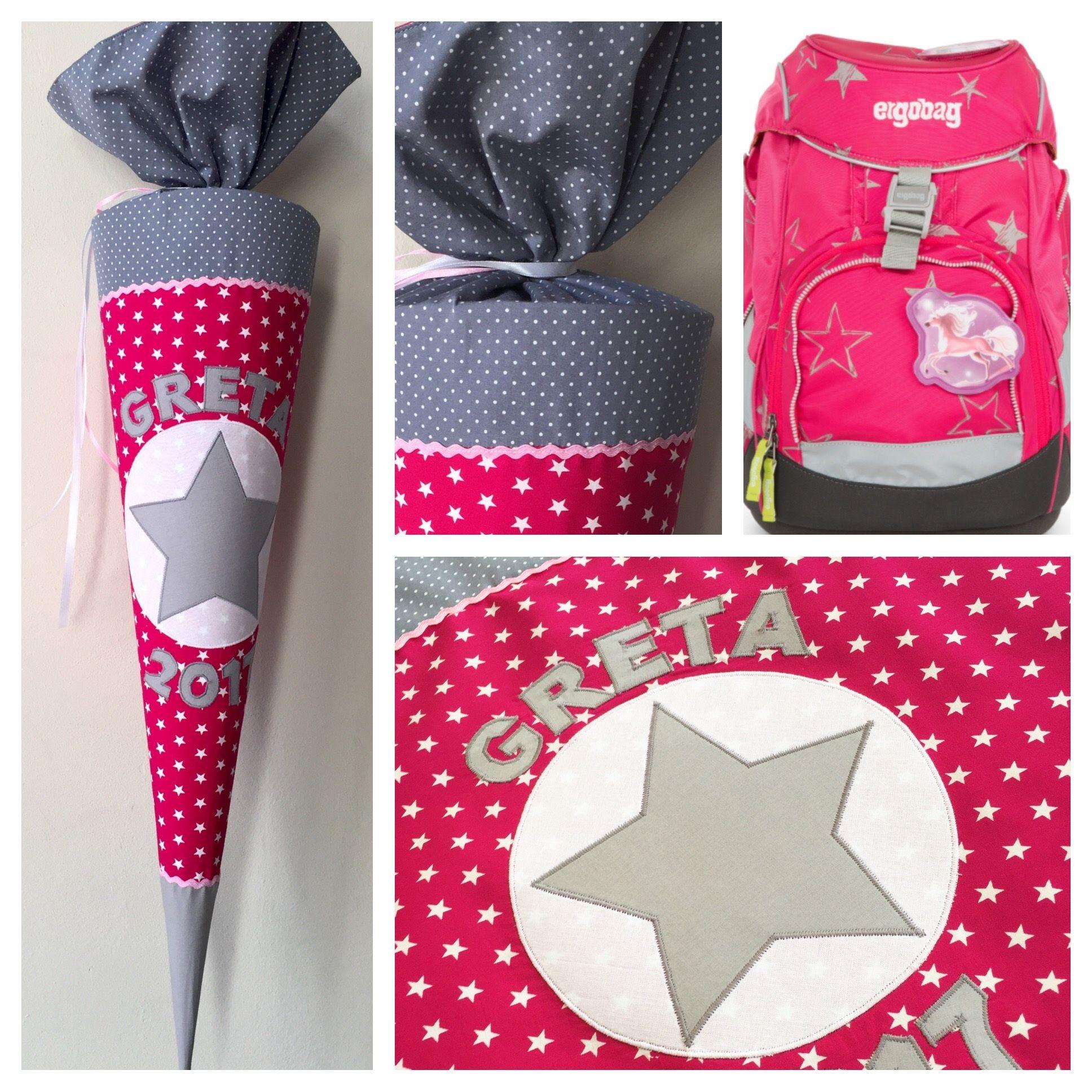 Schultüte Aus Stoff Sterne, Pink Und Grau