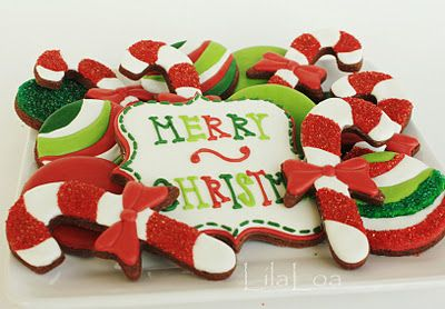 Great candy cane and ornament cookies from LilaLoa