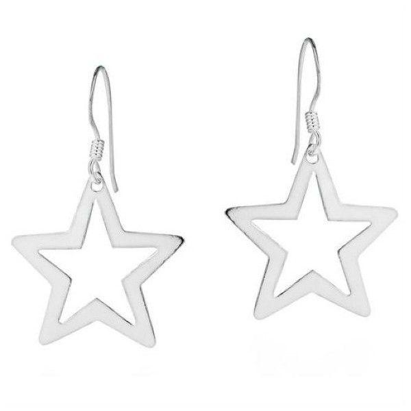 AeraVida Wishful Cut Out Star .925 Silver Dangle Earrings featuring polyvore, fashion, jewelry, earrings, multiple colors, hook earrings, sterling silver earrings, silver earrings, long dangle earrings and multi color earrings