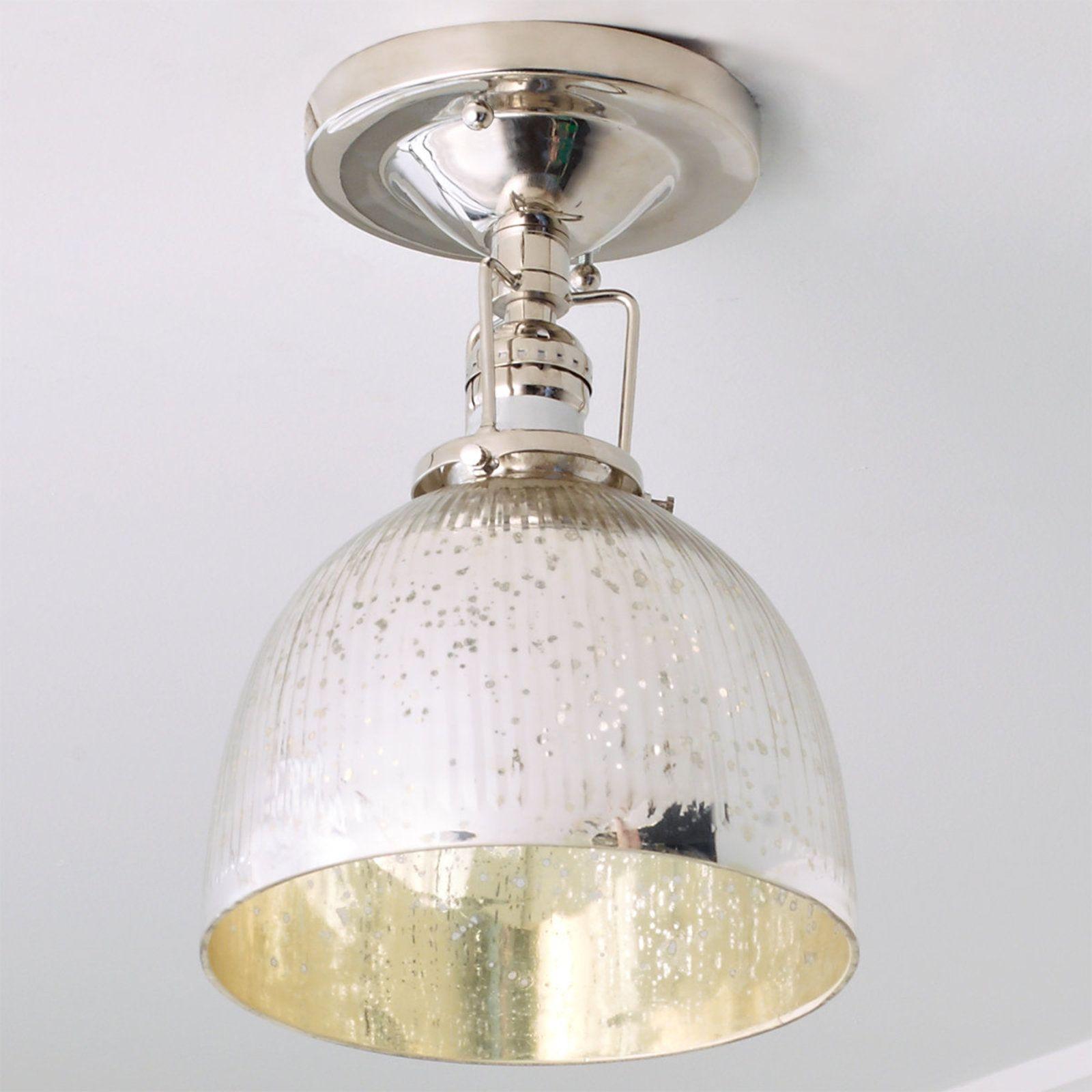 Modern Mercury Glass Restoration Ceiling Light Polished Nickel Ceiling Lights Glass Light Fixture Mercury Glass Lighting
