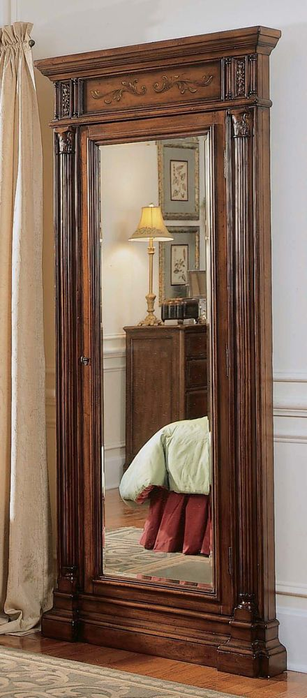 Luxurious Mirror Jewelry Armoire Antique Wooden Carved Floor ...