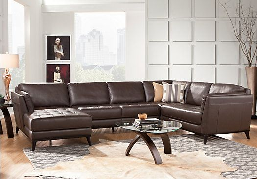 Shop For A Cindy Crawford Home Thousand Oaks Mushroom 6 Pc Leather  Sectional Living Room At Rooms To Go. Find Leather Living Rooms That Will  Look Great In ...