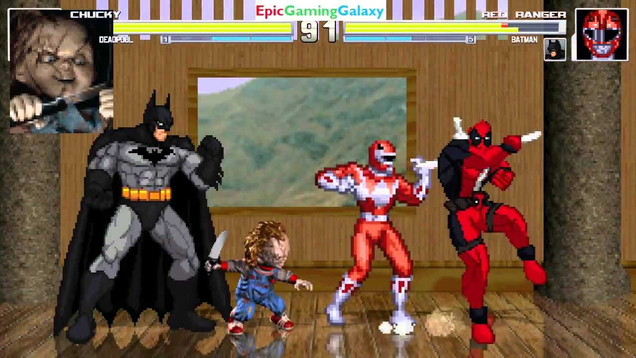 Batman And The Red Ranger VS Chucky Killer Doll Deadpool In A MUGEN Match