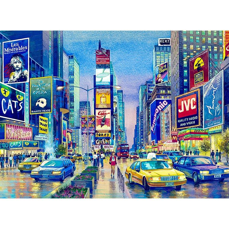 times square watercolor painting by roustam nour fine art gicl e print for sale this new york. Black Bedroom Furniture Sets. Home Design Ideas