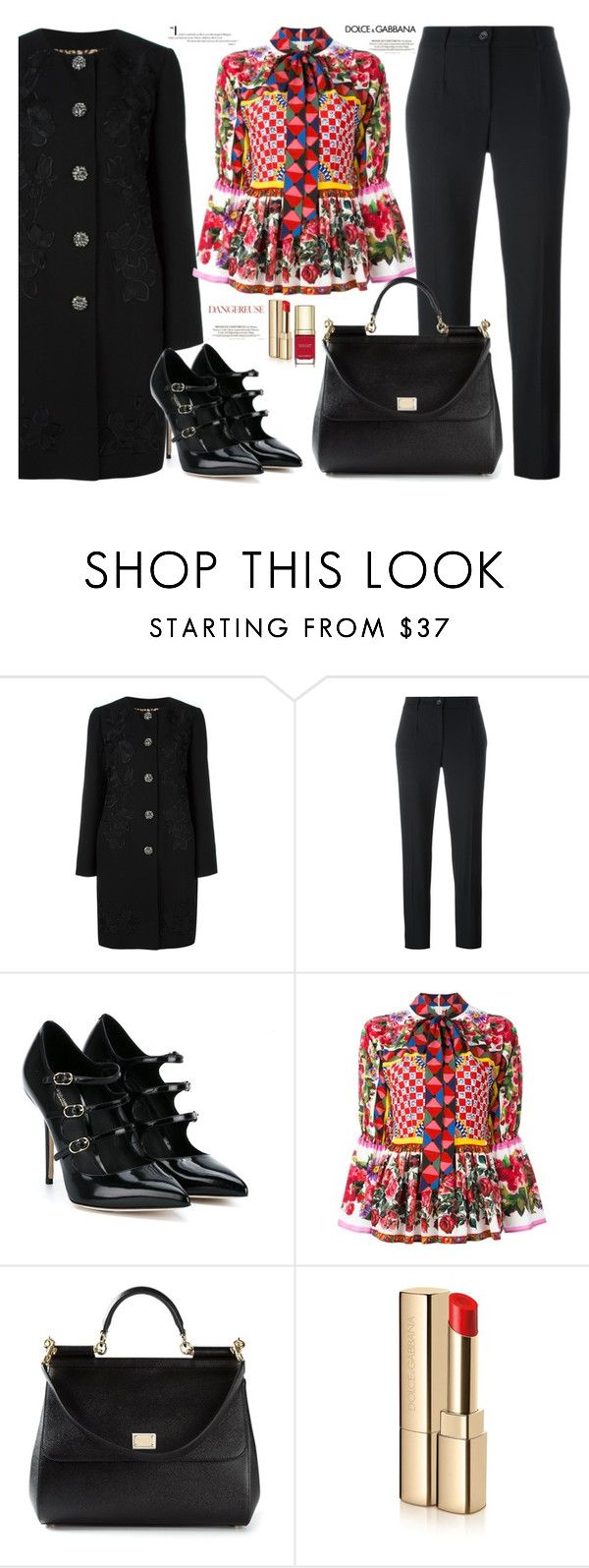 """""""A little D&G"""" by jan31 ❤ liked on Polyvore featuring Dolce&Gabbana, Pumps, pants, coats and printedblouses"""