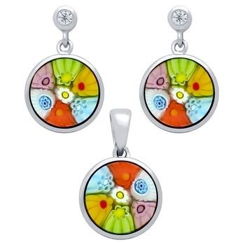 .925 Sterling Silver Nickel Free Millefiori Set: Multi-Color 10mm Round Earrings With Cubic Zirconia Post And Pendant