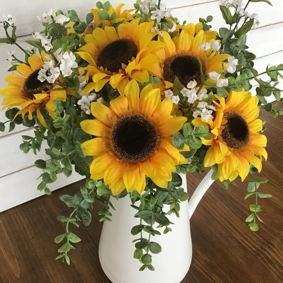 Sunflower Floral Arrangement Farmhouse Floral Arrangement Sunflowers In Pitcher F Sunflower Floral Arrangements Sunflower Arrangements Home Floral Arrangements