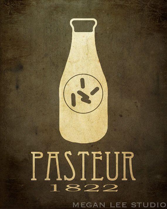 NEW 8x10 Louis Pasteur Biology Art Print, Science Poster, Microbiology Diagram, Scientific Decor, Milk Bottle Bacteria Pasteurization