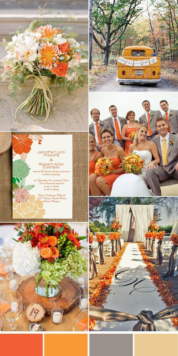Five Beautiful Wedding Colors In Shades Of Grey Orange Wedding