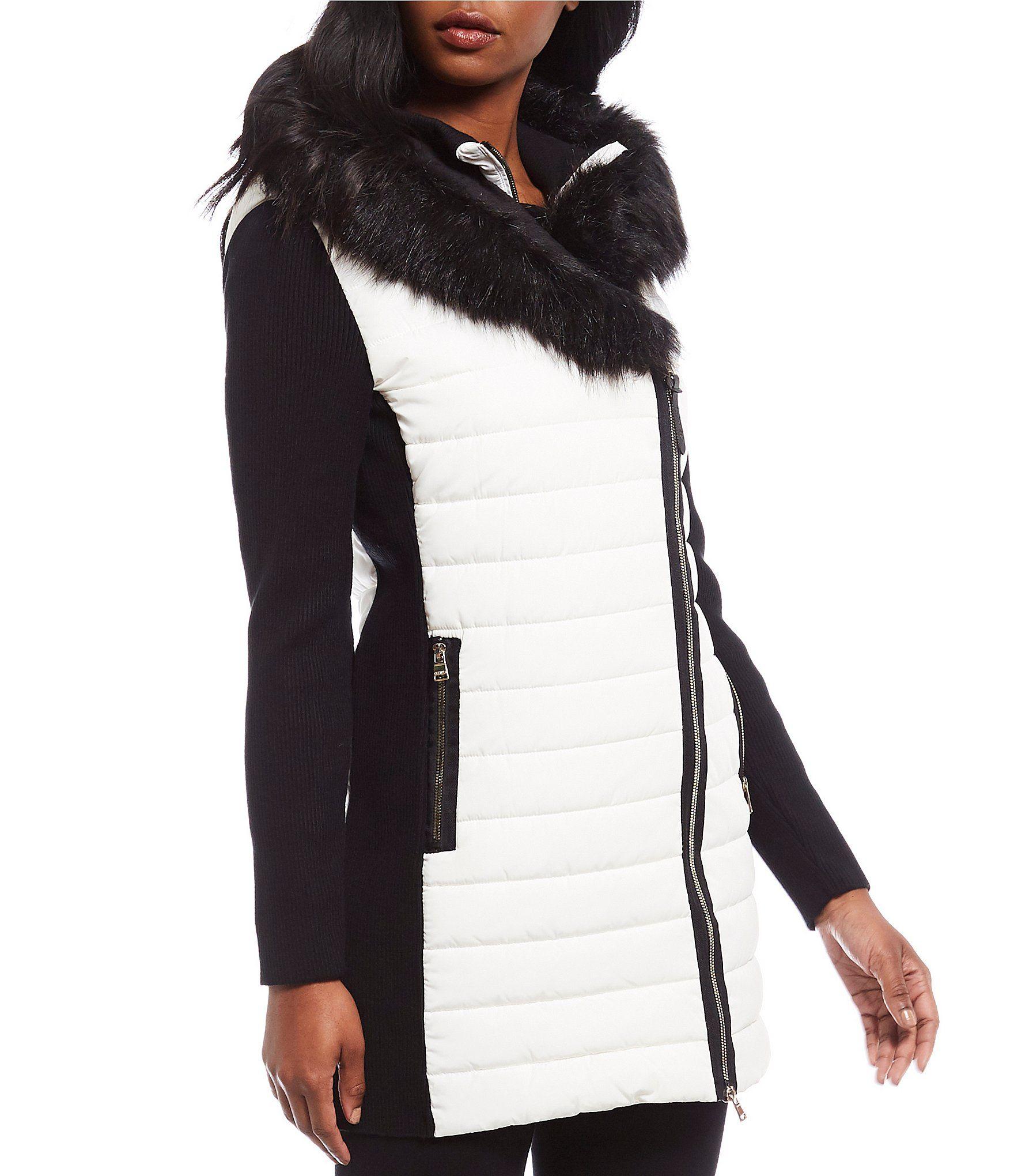 Shop For Calvin Klein Performance Faux Fur Trim Sweater Rib Sleeve Puffer Parka At Dillard S Visi Faux Fur Hooded Coat Leopard Print Long Coat Faux Fur Anorak [ 2040 x 1760 Pixel ]