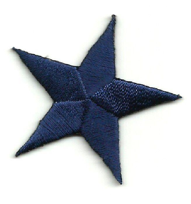 "BLACK EMBROIDERED STARS IRON ON PATCHES 1.6cm ONE DOZEN - 12 5//8/"""