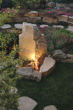 Fire Pit with boulders and stone