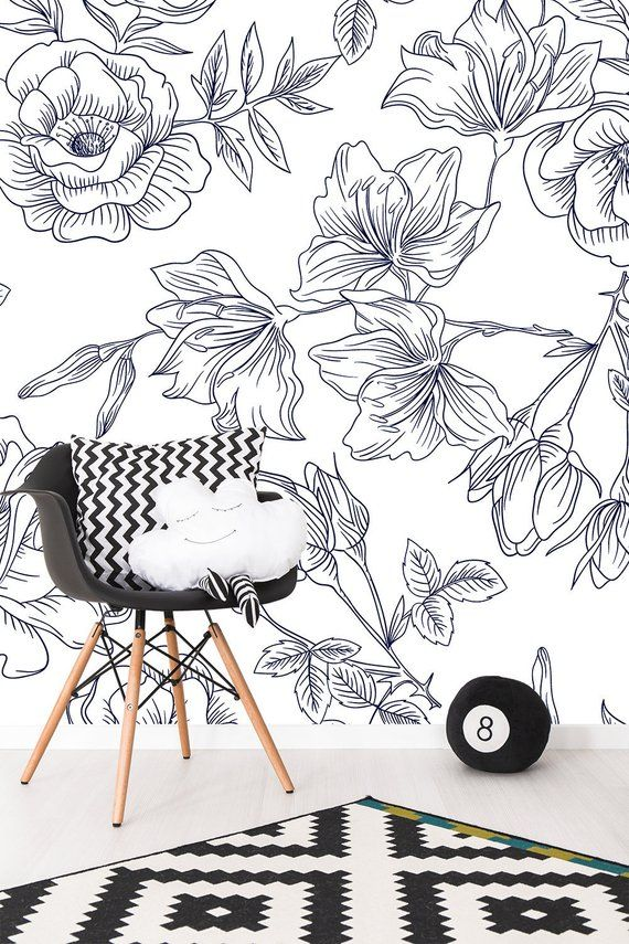 Floral Wallpaper Black And White Flower Pattern Wallpaper Non Woven Wallpaper Peel And Stick Floral Wallpaper Floral Pattern Wallpaper Adhesive Wallpaper