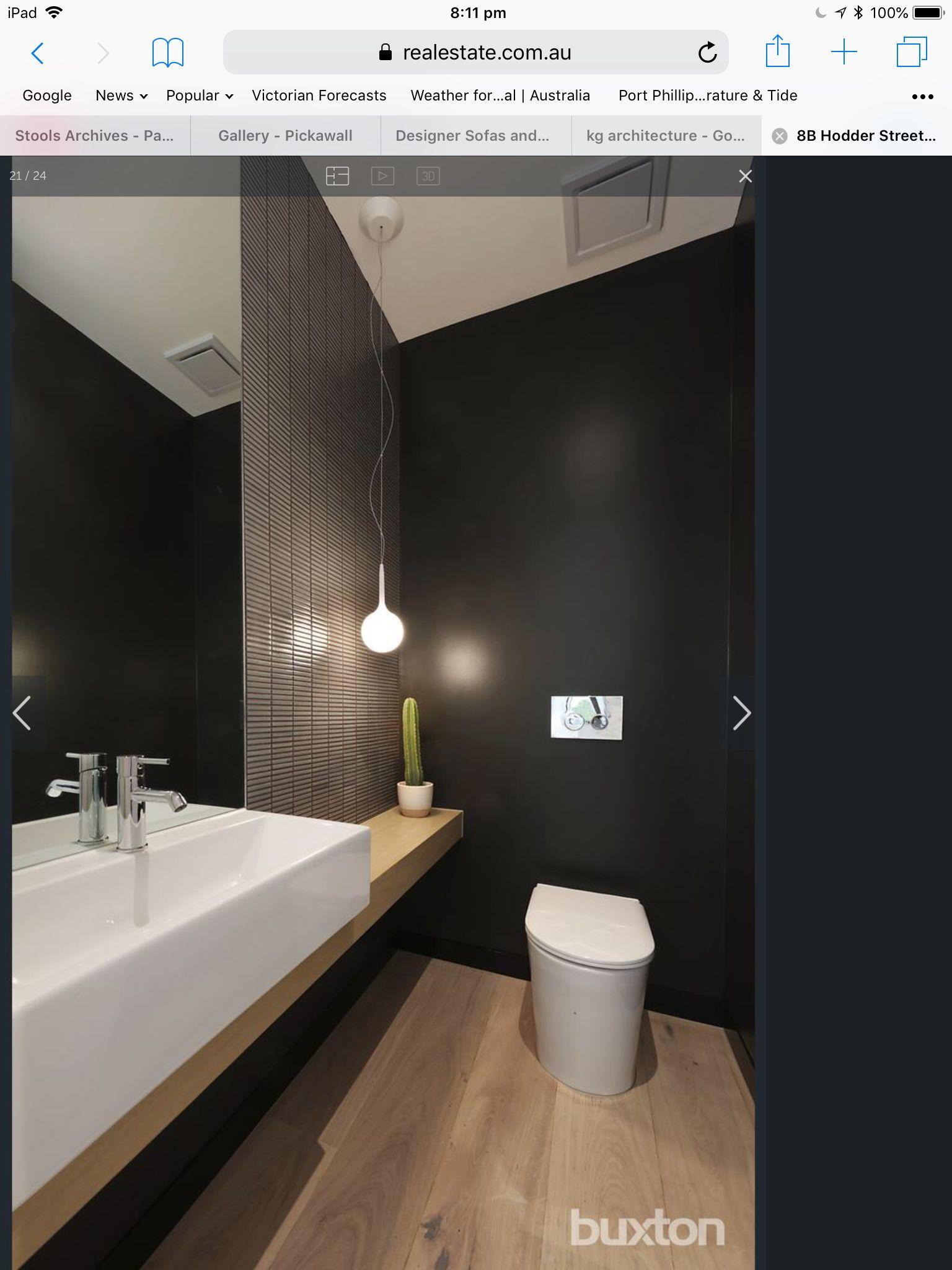 Powder Room Black Paint Feature Tiles Large Mirror