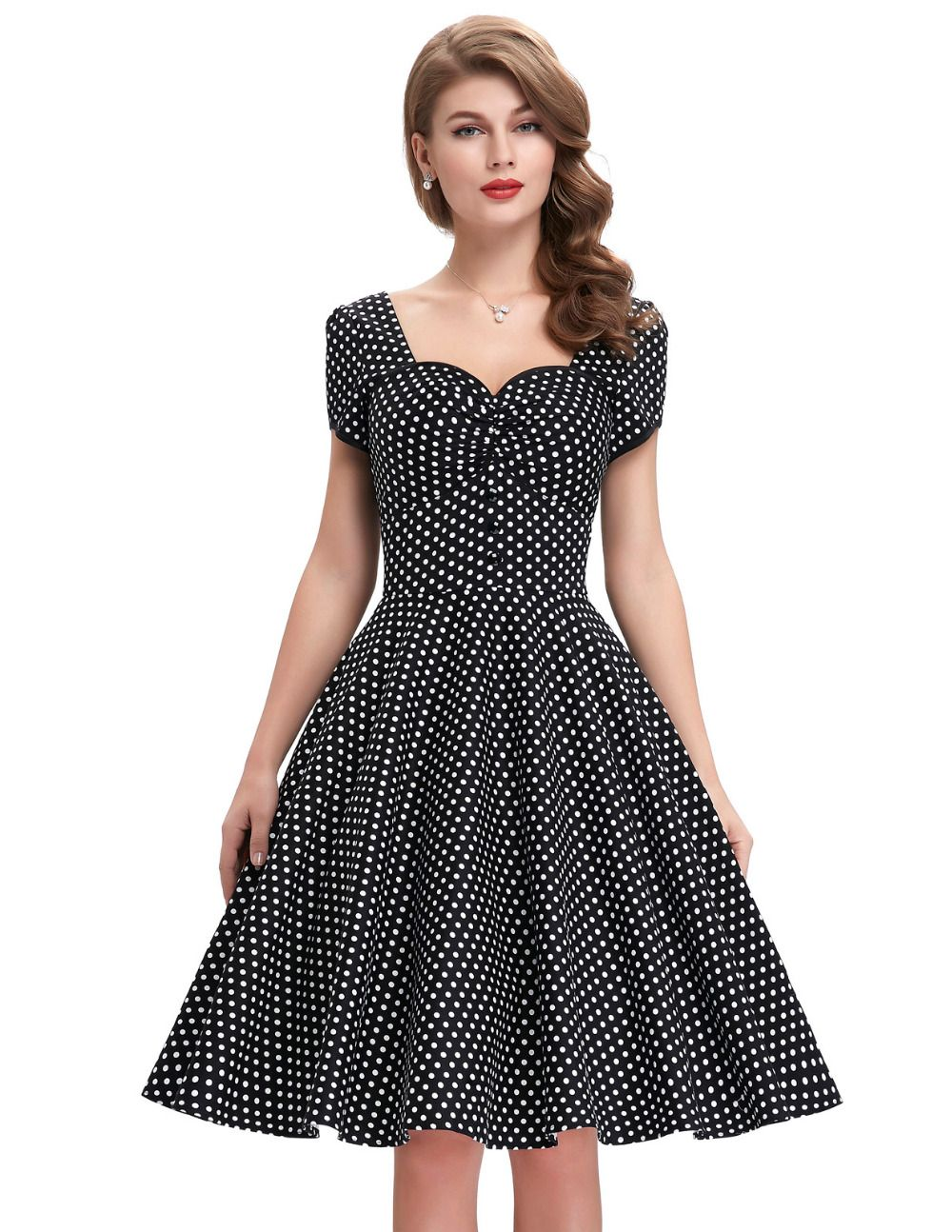 d8c1256cc6fc7 Elegant Wear To Work Women Dress Cotton Robe Vintage 50s 60s Vestido ...