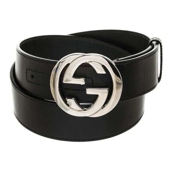 Pre-Owned Gucci Black Leather Silver Gg Belt ( 260) ❤ liked on Polyvore  featuring accessories 176ae481bb5