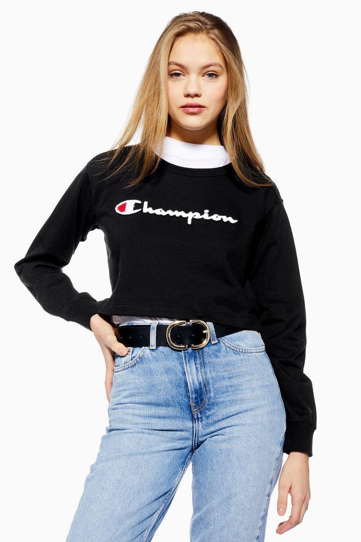 f44e236c Script Cropped Sweatshirt by Champion - Hoodies & Sweats - Clothing -  Topshop Europe