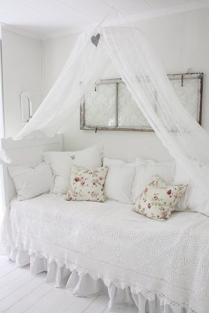 French Shabby Chic Decorating Ideas | Bedroom bed shabby chic French country rustic Swedish decor idea