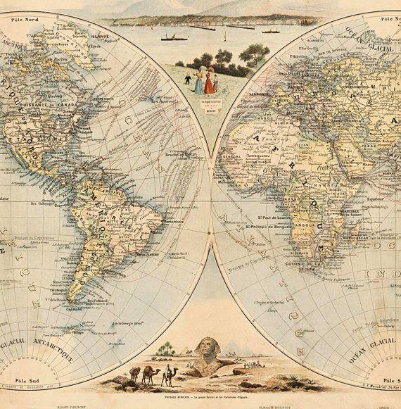 Vintage World Map Antique Atlas 1900 Folklore Map Of The World Etsy In 2020 Vintage World Maps Map World Map Printable