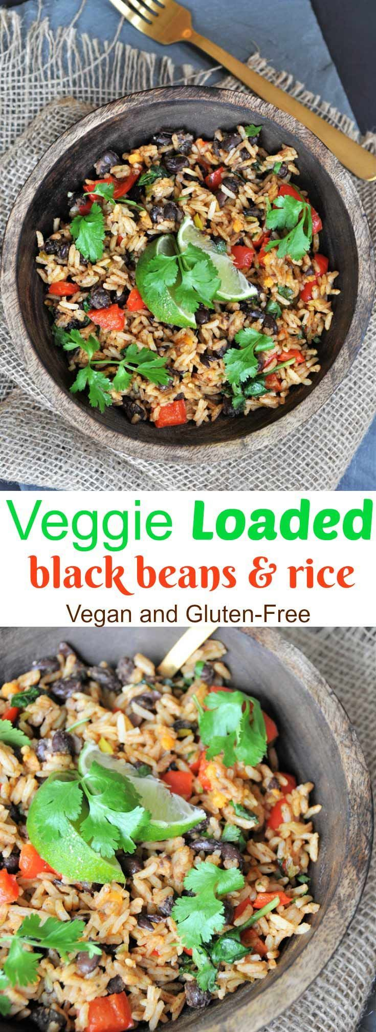 Veggie loaded black beans and rice #plantbasedrecipesforbeginners