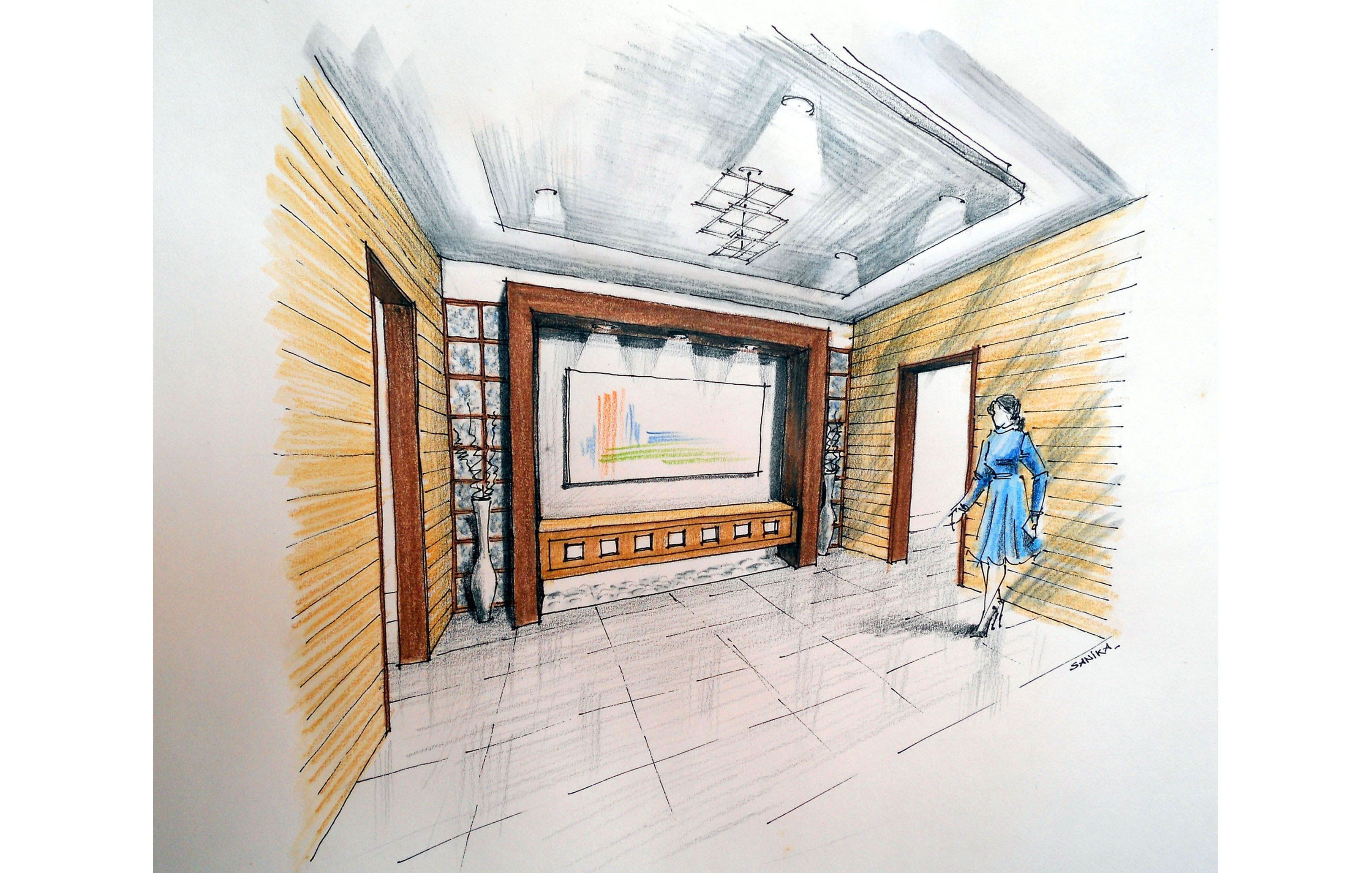 Manual Rendering Of A Interior Architecture Design Perspective Drawing Lobby In Watercolours On Cartridge Paper Step By Tutori