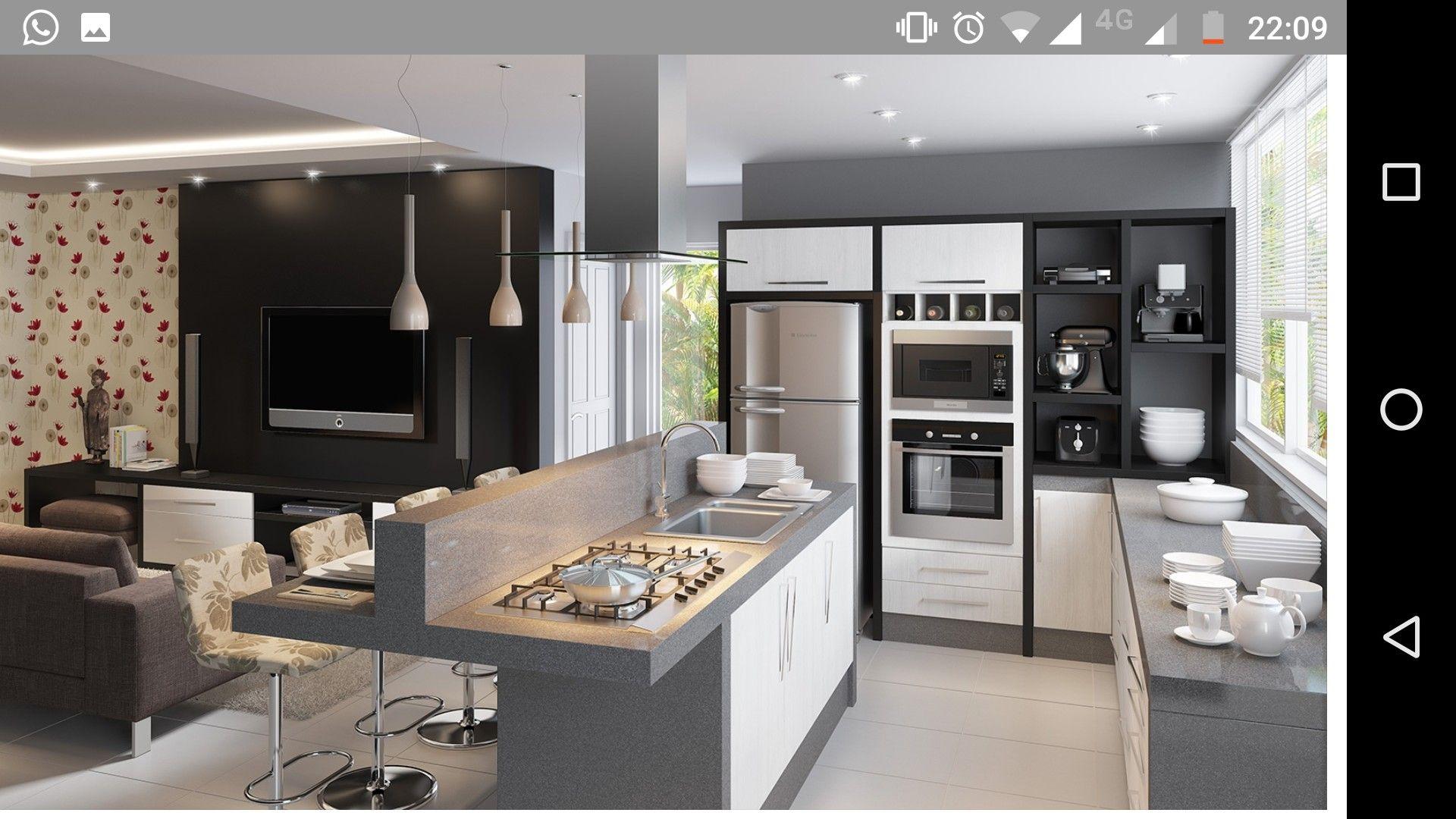 Cozinha Com Ilha E Sala Integrada Projetos Mara Ramos Arquitetura E