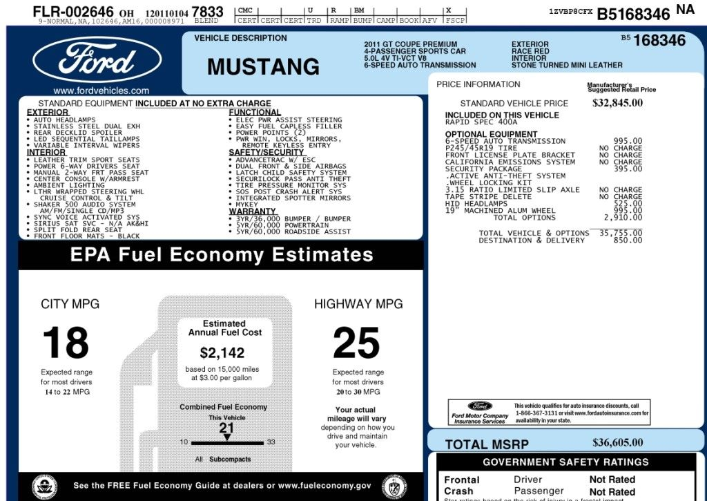 2011 2012 2013 Ford Mustang Gt Print Your Window Sticker Ford