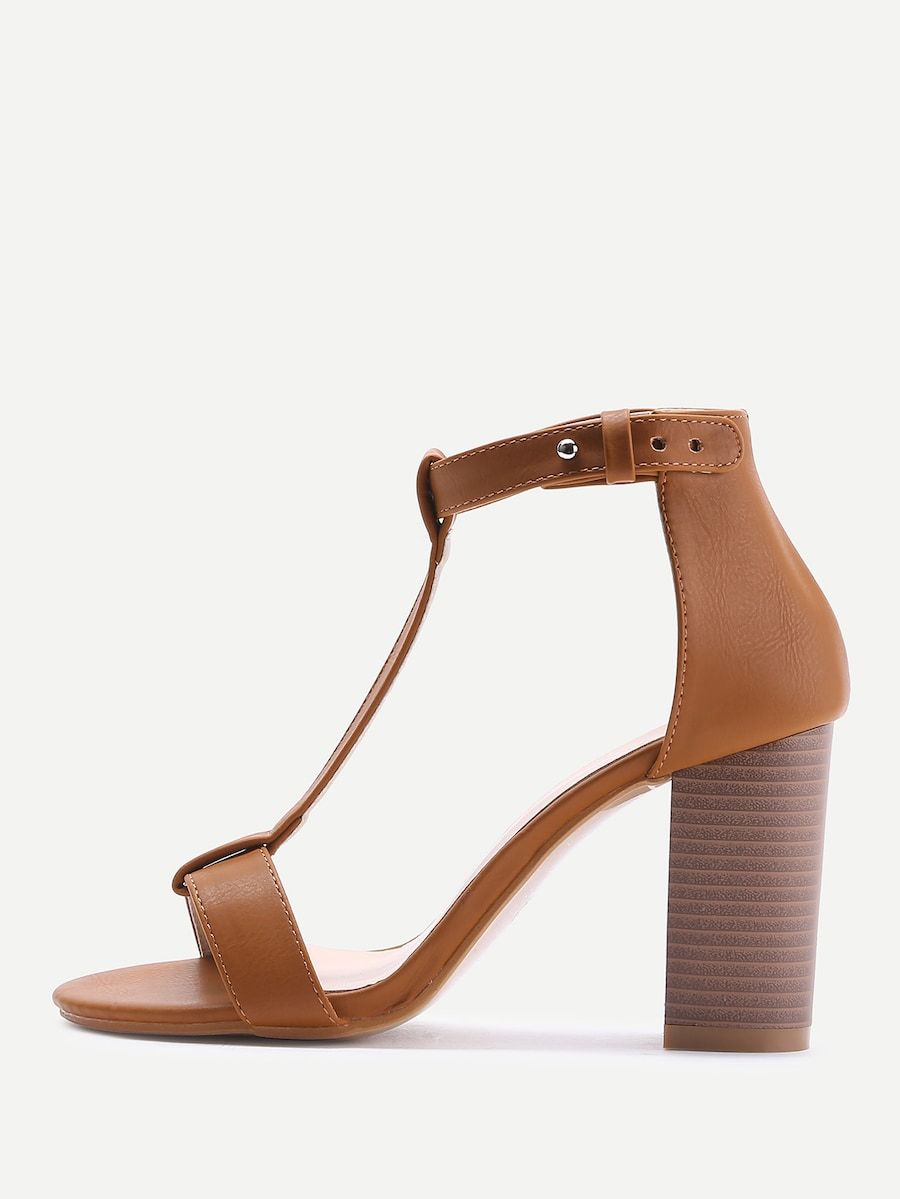 c68bb6089f2d02 T-strap PU Block Heeled Sandals -SHEIN(SHEINSIDE)