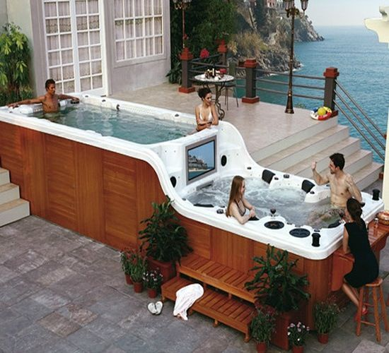 Double decker hot tub with bar and tv oh yea this will be the swim spa i have in my back yard