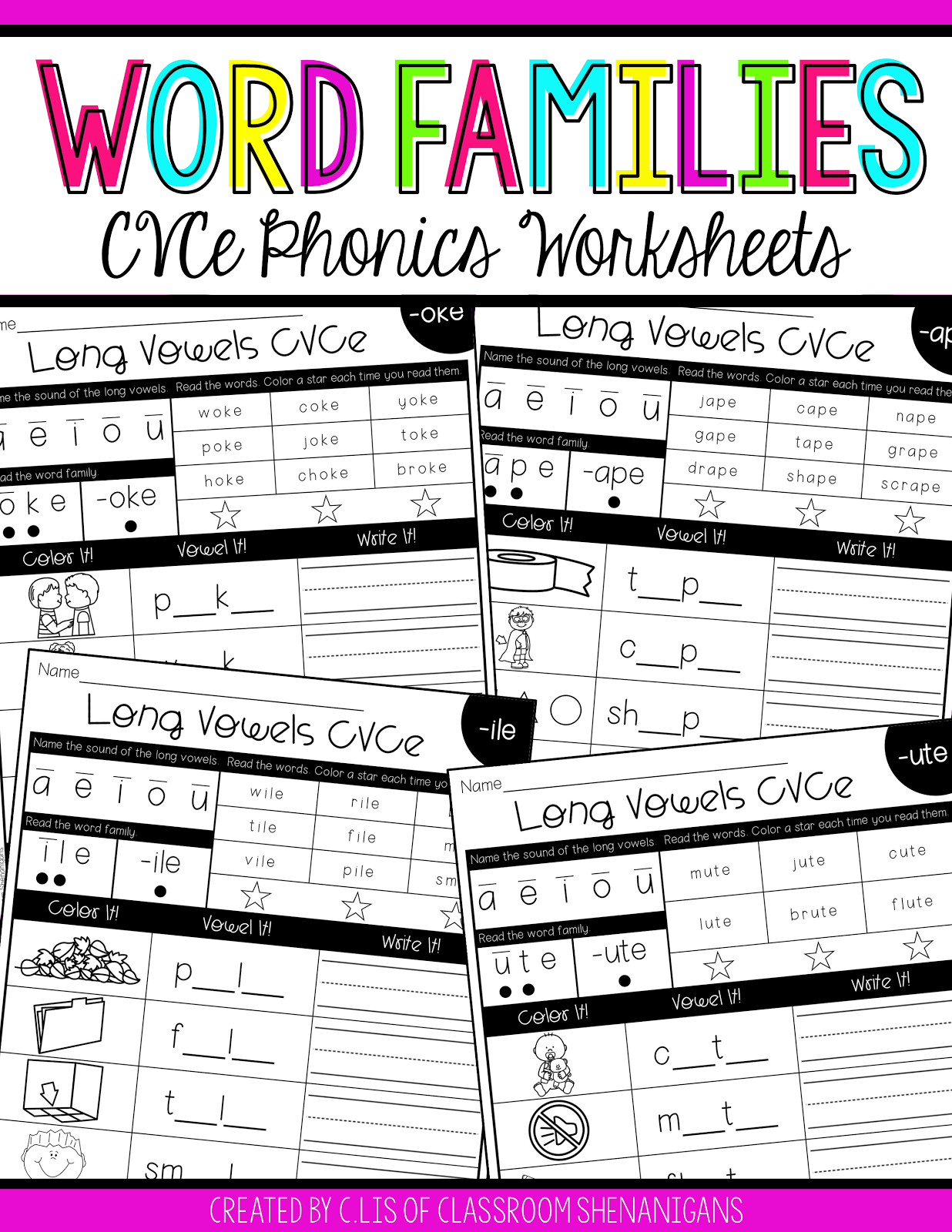Cvce And Word Families Phonics Worksheets