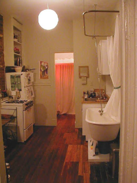 kitchen with bathtub. small spaces, small bathroom, space-saver, tub ...