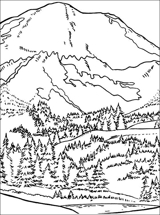 coloring pages printable mountains and trees # 2