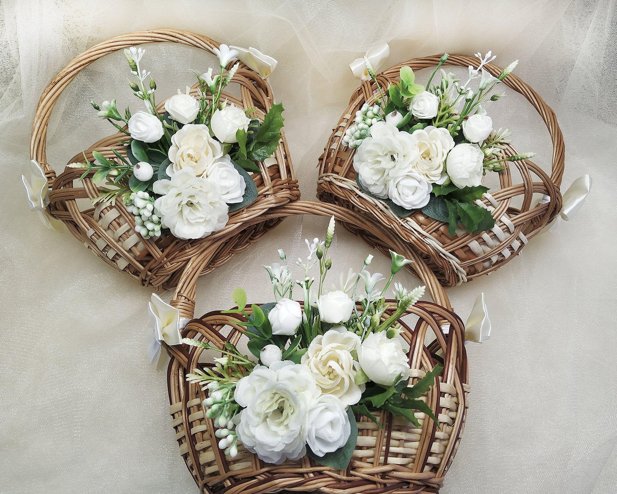 Flower girl basket for rustic wedding flower girl basket