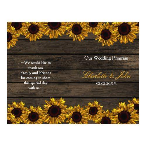Rustic Door Wedding Ideas: Rustic Country Sunflower Barn Wood Wedding Program